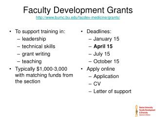 Faculty Development Grants bumc.bu/facdev-medicine/grants/