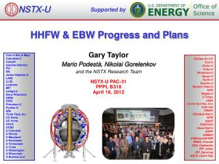 HHFW & EBW Progress and Plans