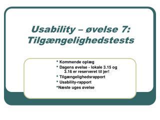 Usability – øvelse 7: Tilgængelighedstests