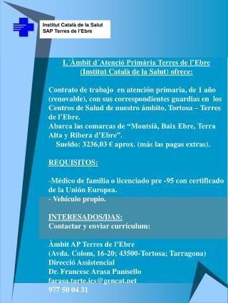 Institut Català de la Salut SAP Terres de l'Ebre