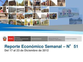 Reporte Económico Semanal – N°51