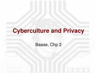 Cyberculture and Privacy