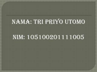 Nama : Tri  Priyo Utomo Nim : 105100201111005