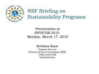 NSF Briefing on  Sustainability Programs