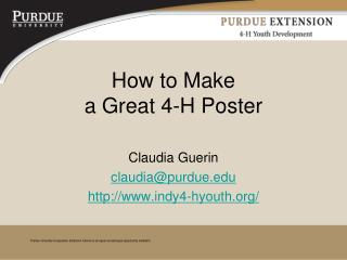 How to Make  a Great 4-H Poster