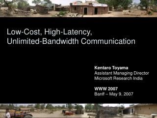 Low-Cost, High-Latency,  Unlimited-Bandwidth Communication