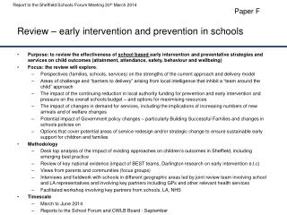 Review – early intervention and prevention in schools