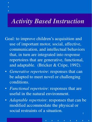 Activity Based Instruction
