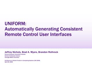 UNIFORM:  Automatically Generating Consistent Remote Control User Interfaces
