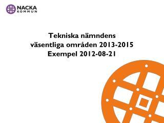 Tekniska nämndens väsentliga områden 2013-2015 Exempel  2012-08-21