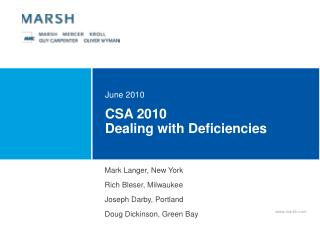 CSA 2010 Dealing with Deficiencies