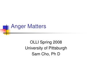 Anger Matters