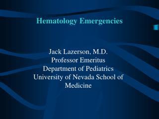 Hematology Emergencies