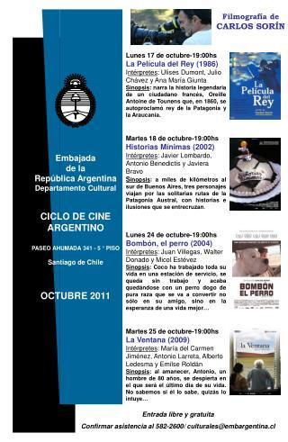 Lunes 17 de octubre-19:00hs La Película del Rey (1986)