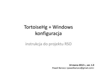 TortoiseHg  + Windows konfiguracja