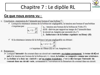 Chapitre 7: Le dipôle RL