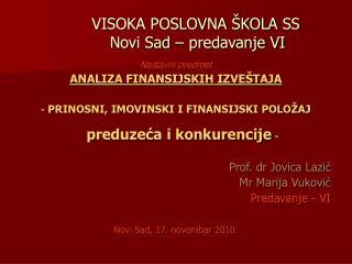 VISOKA POSLOVNA �KOLA SS       Novi Sad � predavanje VI