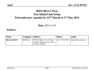 IEEE 802.11 TGai Fast Initial Link Setup  Teleconference Agenda for 22 nd  March to 3 rd  May 2011