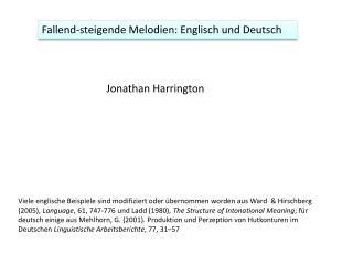 Fallend-steigende Melodien: Englisch und Deutsch