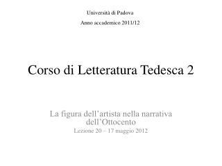 Corso di Letteratura Tedesca 2