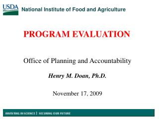 Office of Planning and Accountability Henry M. Doan, Ph.D. November 17, 2009