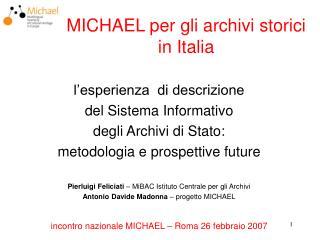 MICHAEL per gli archivi storici in Italia