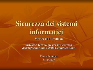 Sicurezza dei sistemi informatici