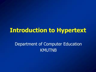 Introduction to Hypertext