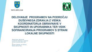 Alenka Kolar,  dipl.soc.del . koordinator obravnave v skupnosti  Center za socialno delo  Celje in