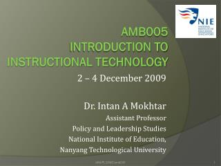 AMB005  Introduction to instructional technology