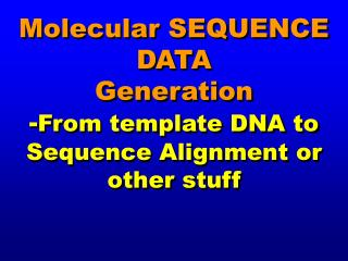 Molecular SEQUENCE DATA Generation - From template DNA to Sequence Alignment or other stuff