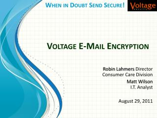 Voltage E-Mail Encryption