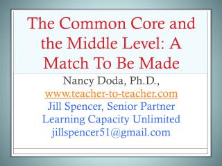 The Common Core and the Middle Level: A Match To Be Made