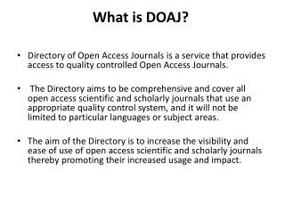 What is DOAJ?