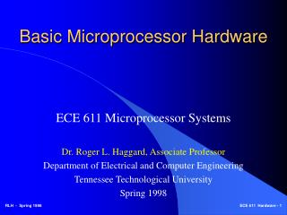Basic Microprocessor Hardware