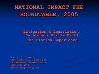 NATIONAL IMPACT FEE ROUNDTABLE, 2005
