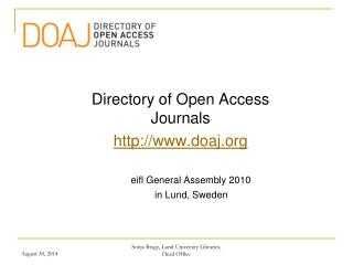 Directory of Open Access Journals doaj eifl General Assembly 2010
