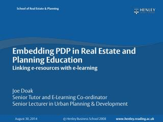Embedding PDP in Real Estate and Planning Education