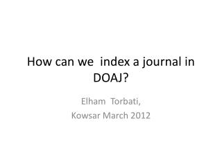 How can we  index a journal in DOAJ?