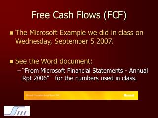 Free Cash Flows (FCF)