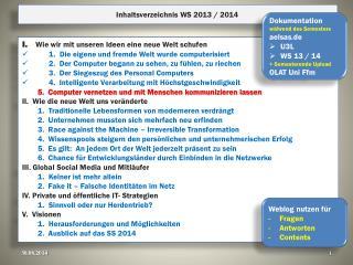 Inhaltsverzeichnis WS 2013 / 2014