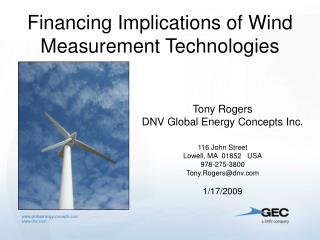 Financing Implications of Wind Measurement Technologies