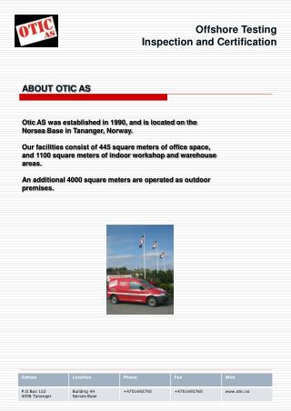 Offshore Testing Inspection and Certification