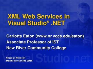 XML Web Services in Visual Studio