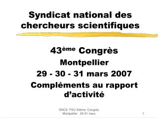 Syndicat national des chercheurs scientifiques