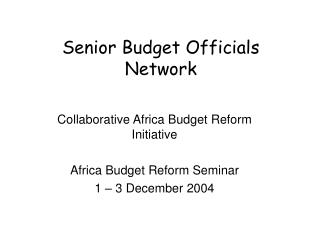Senior Budget Officials Network