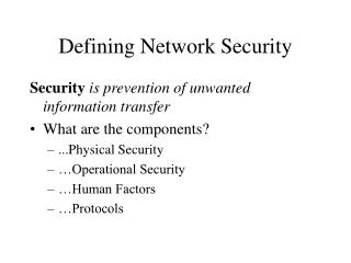 Defining Network Security
