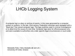 LHCb Logging System