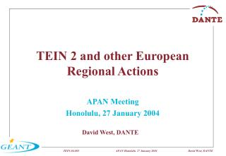 TEIN 2 and other European Regional Actions