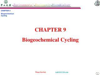 CHAPTER 9 Biogeochemical Cycling